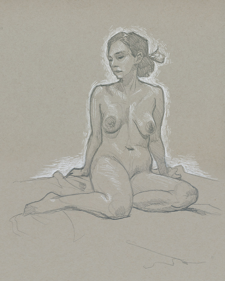 A 20 min figure drawing on toned paper.