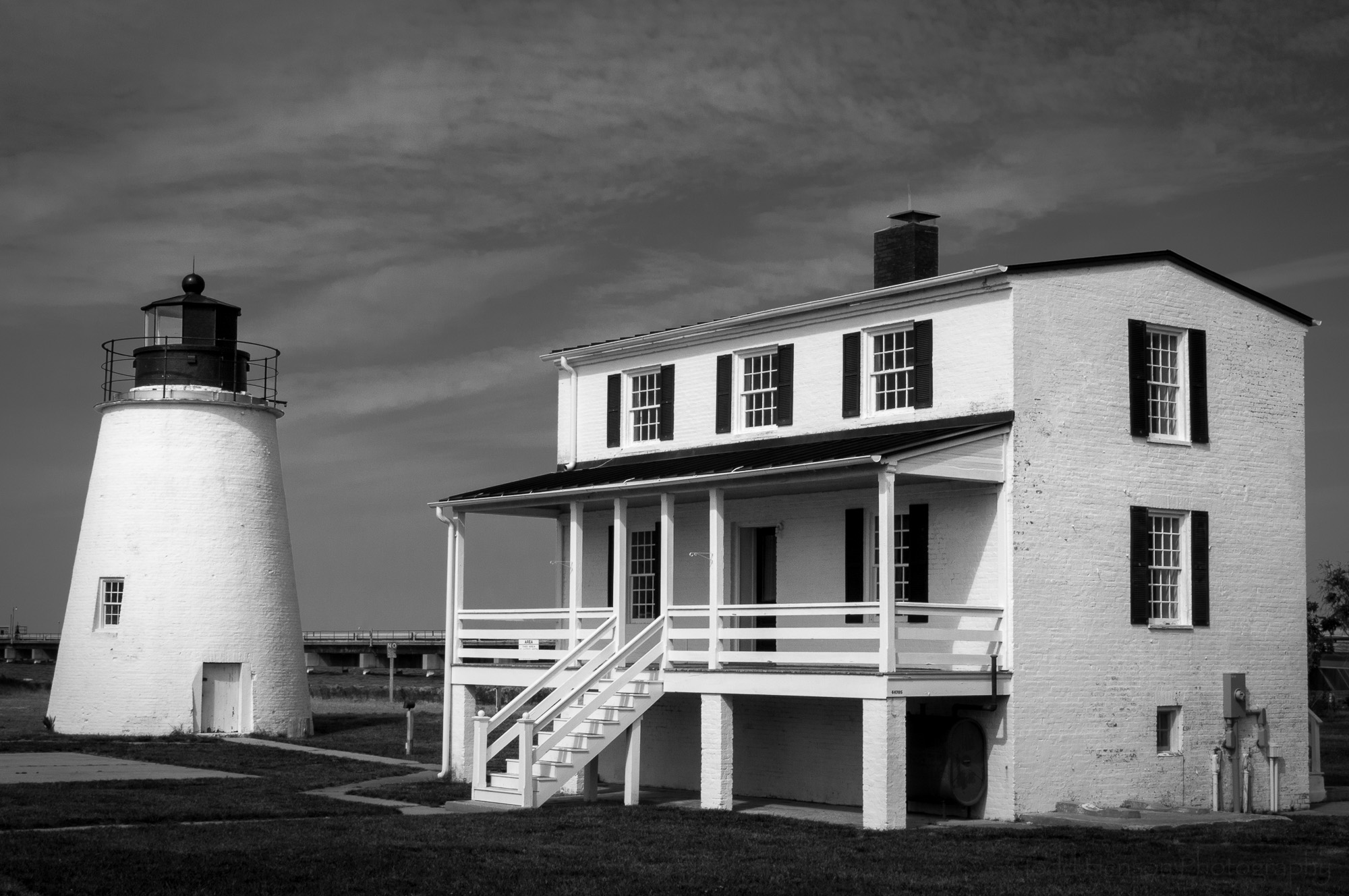 Black and white image of Piney Point Lighthouse in St. Mary's County, Maryland