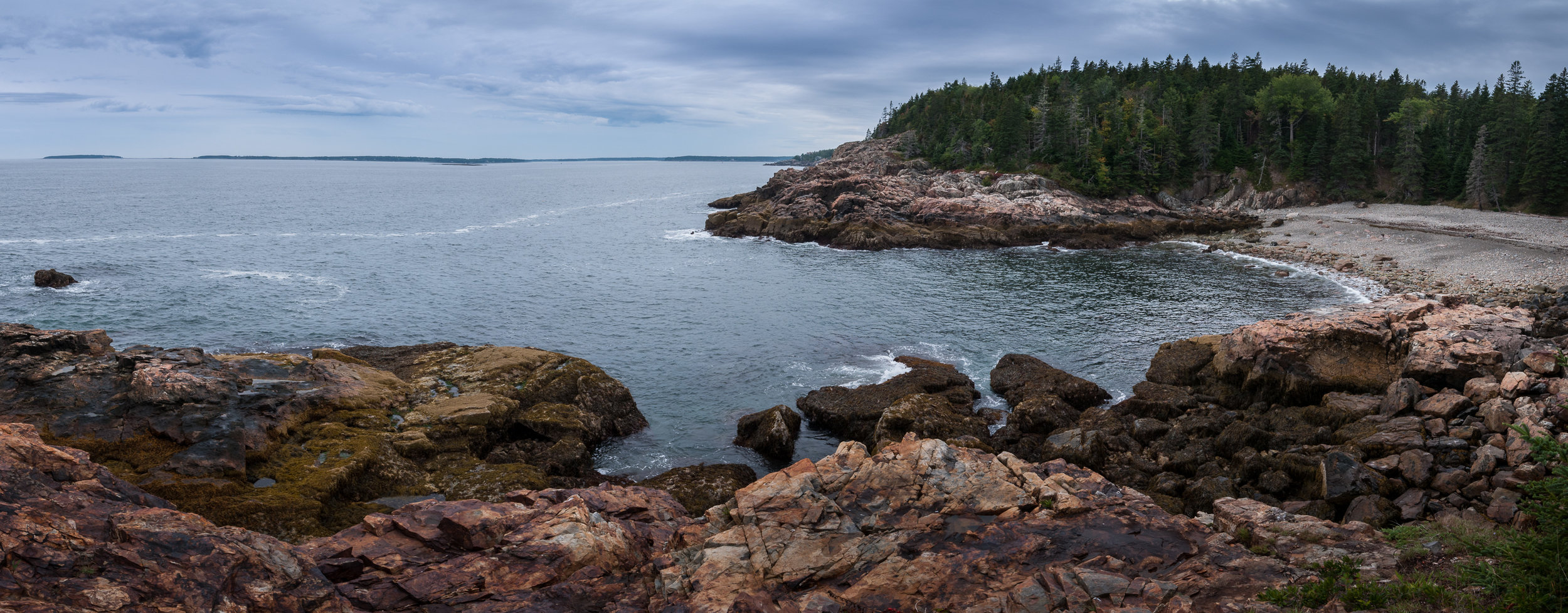 Panorama of inlet and rocky beach in Acadia National Park, Maine