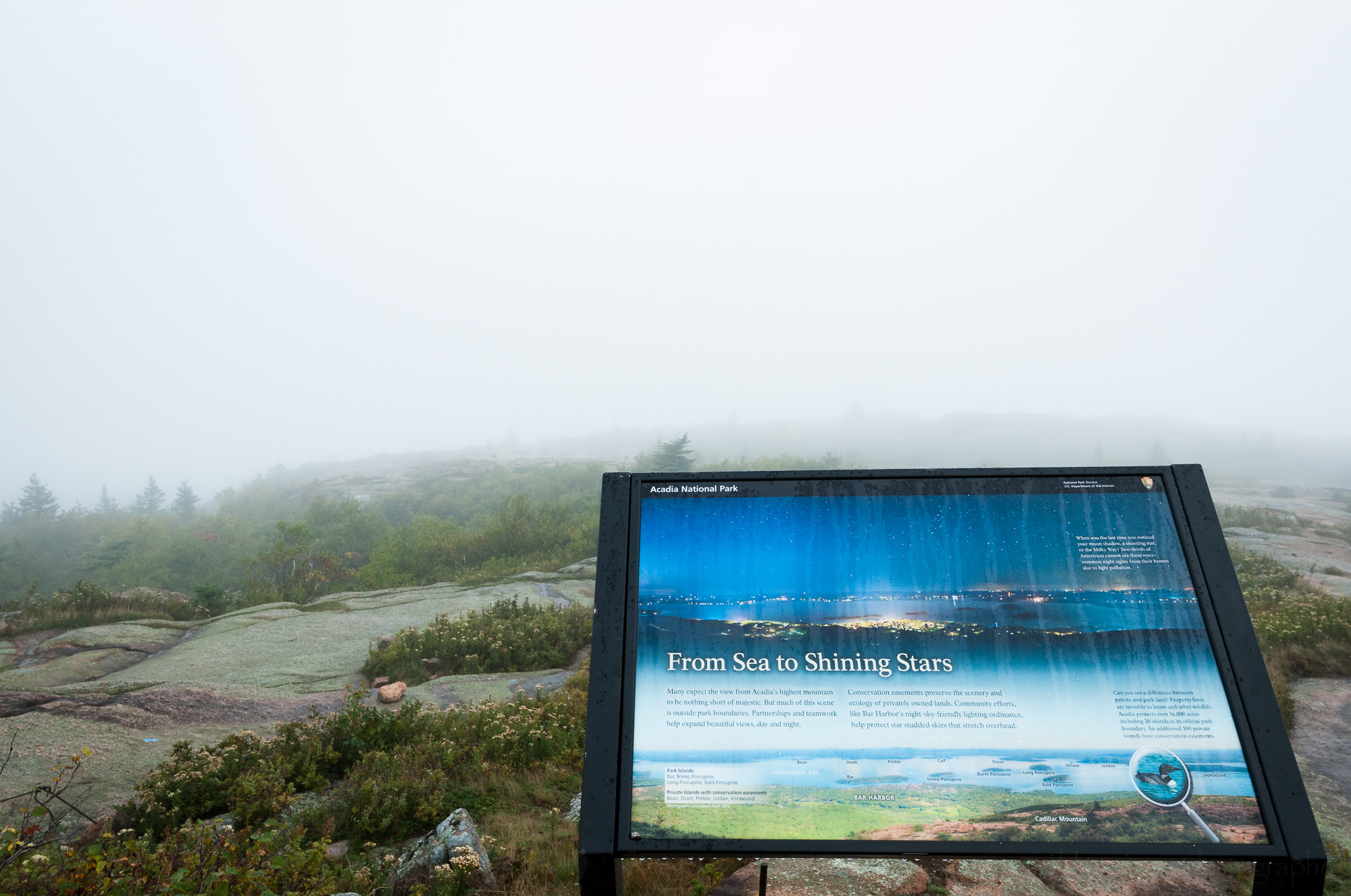 """From Sea to Shining Stars"" view of fog from Cadillac Mountain"