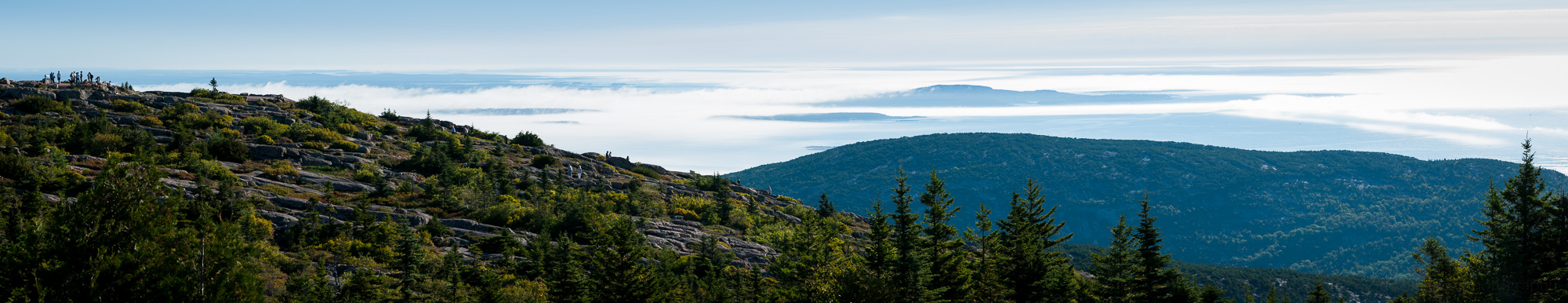 Panorama of Cadillac Mountain overlooking the Gulf of Maine