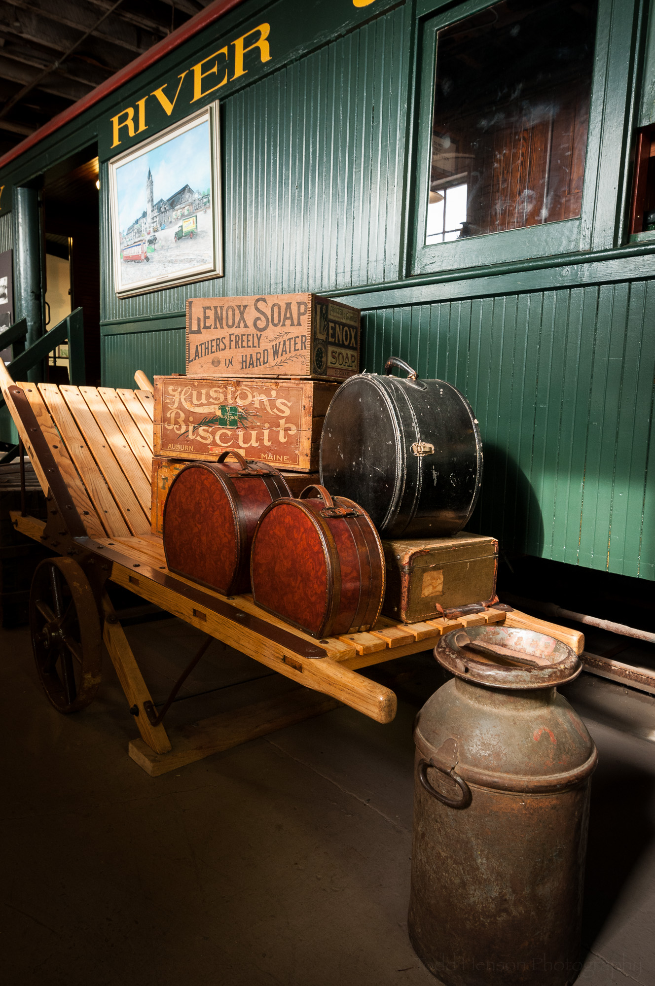 Luggage display in the Maine Narrow Gauge Railroad Museum