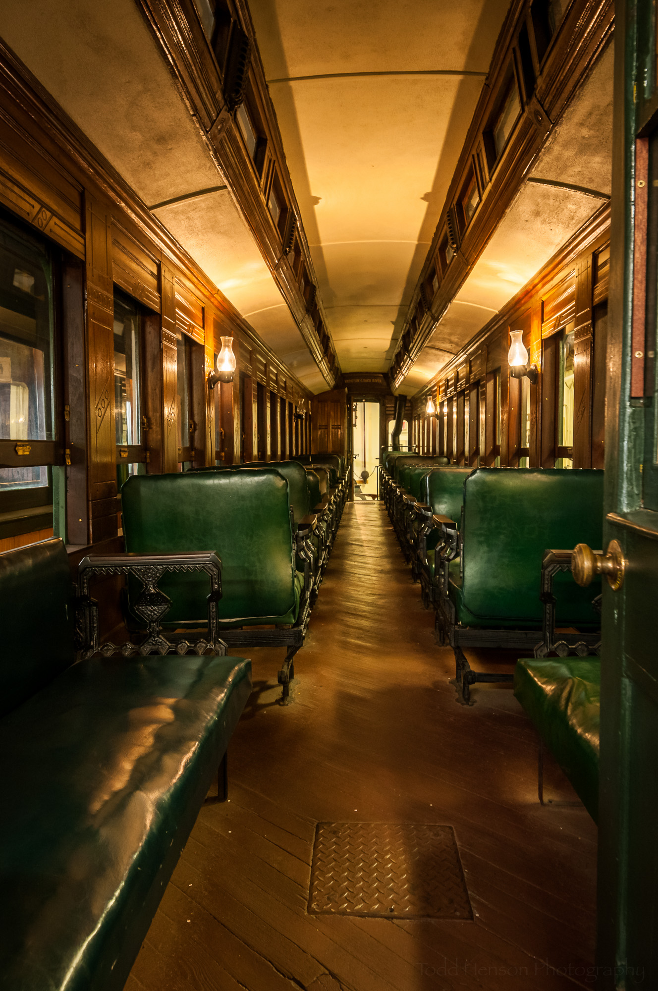 Interior of passenger train with individual seats (3 image HDR)