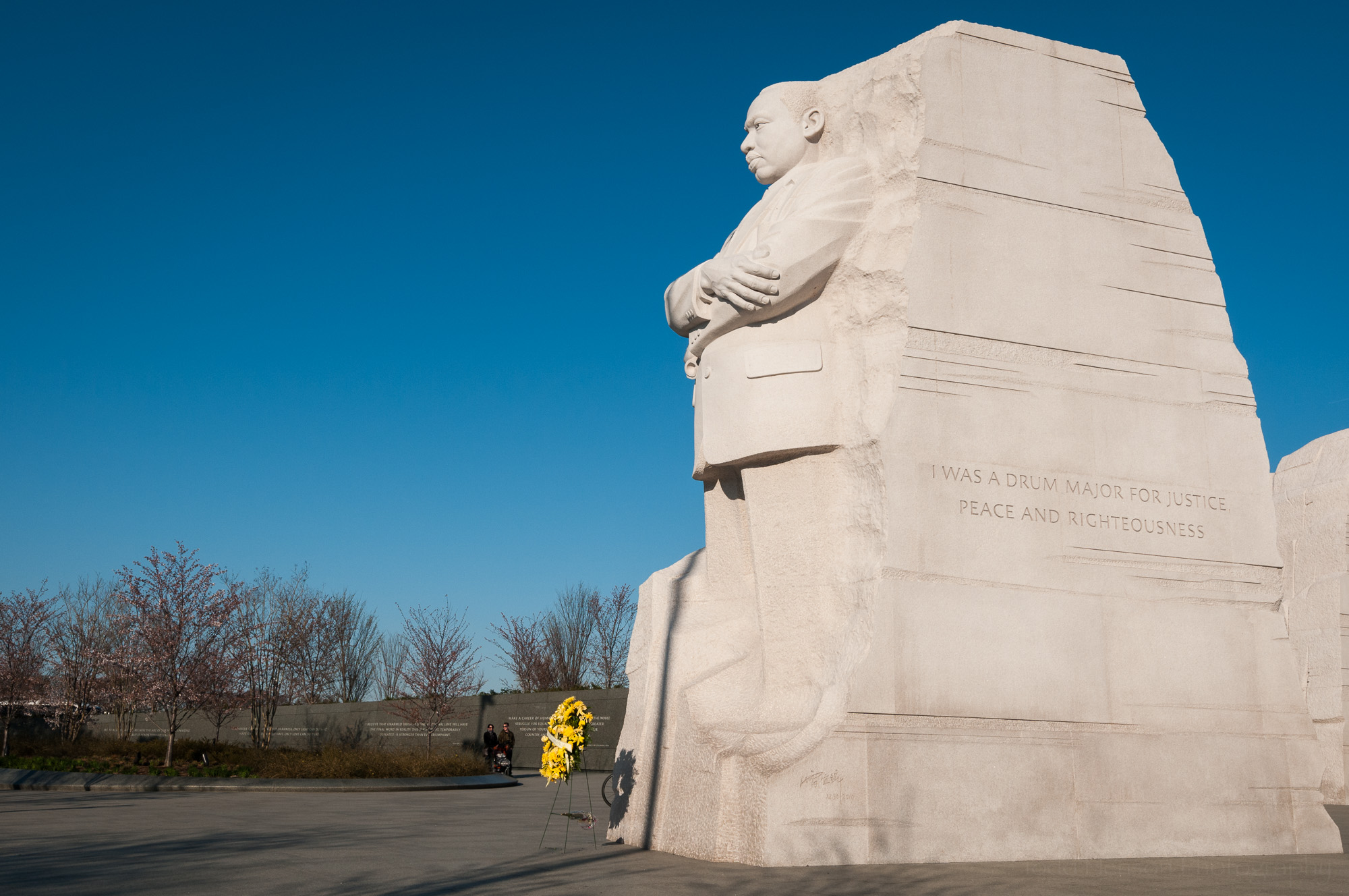 Martin Luther King, Jr. Memorial with yellow wreath and controversial drum major quote