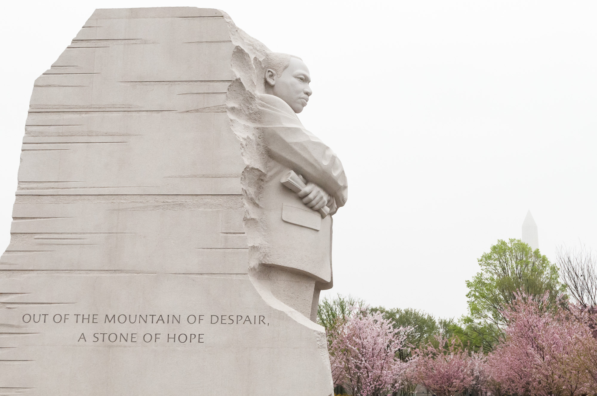 Martin Luther King, Jr. Memorial with stone of hope quote