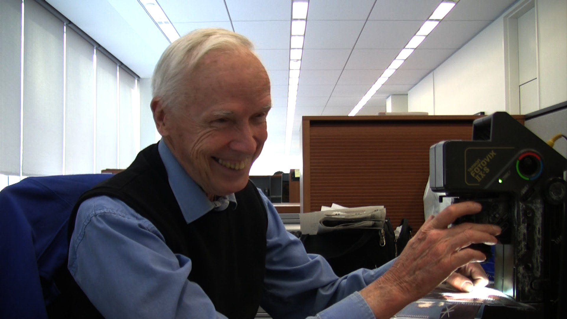 Bill Cunningham at his desk at  The New York Times , in BILL CUNNINGHAM NEW YORK. A film by Richard Press. A Zeitgeist Films release. Photo credit: First Thought Films / Zeitgeist Films