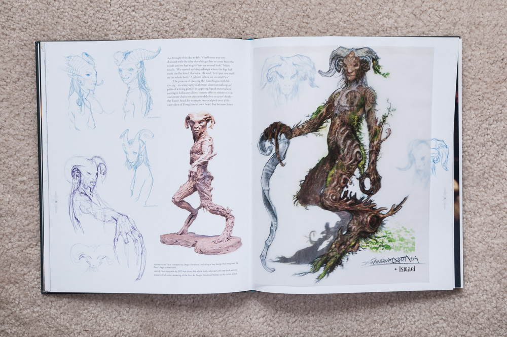 Shows a translucent colored Faun overtop the initial sketch.
