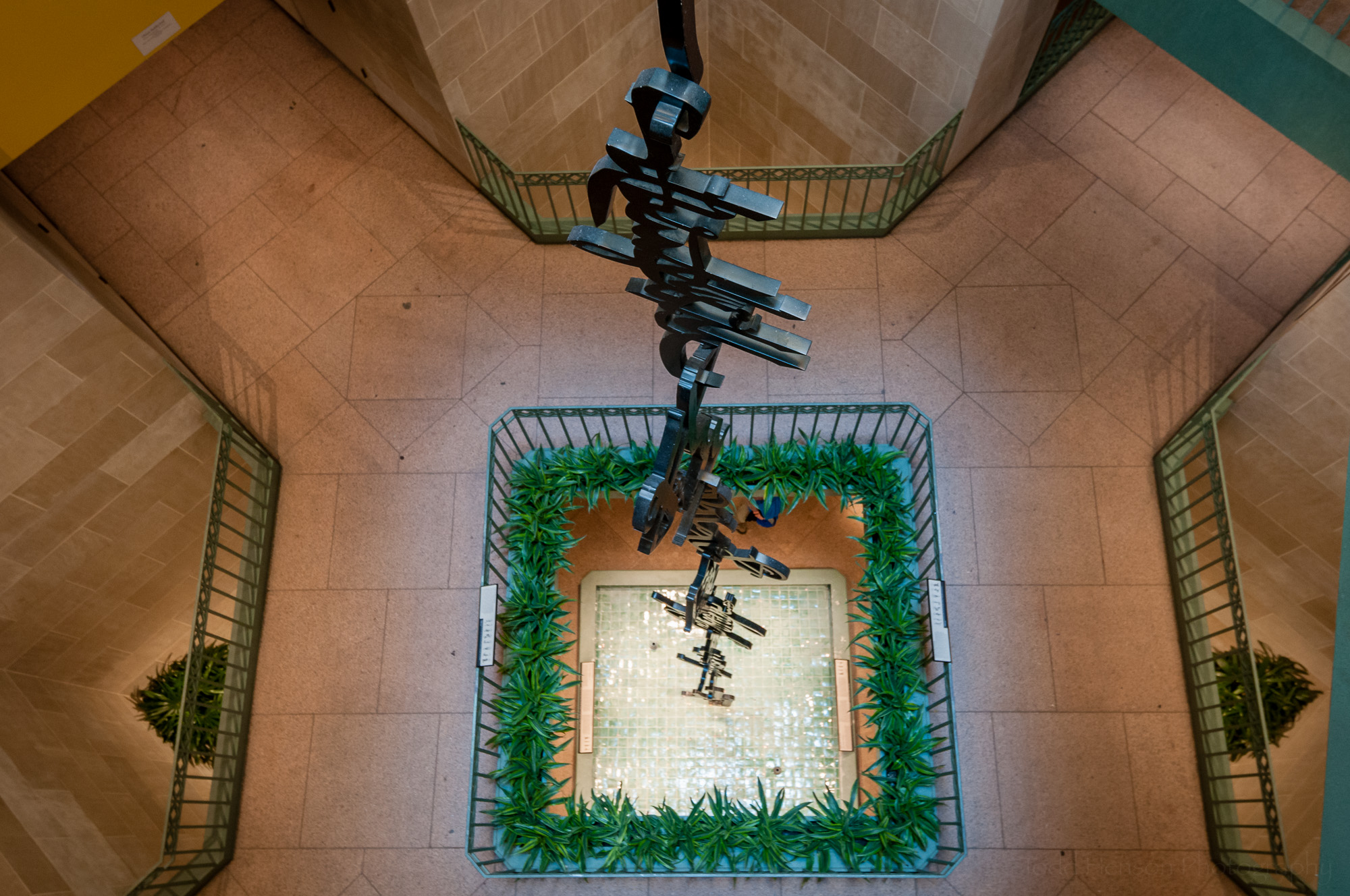 Looking down at  Monkeys Grasp for the Moon  by Xu Bing in the Sackler Gallery