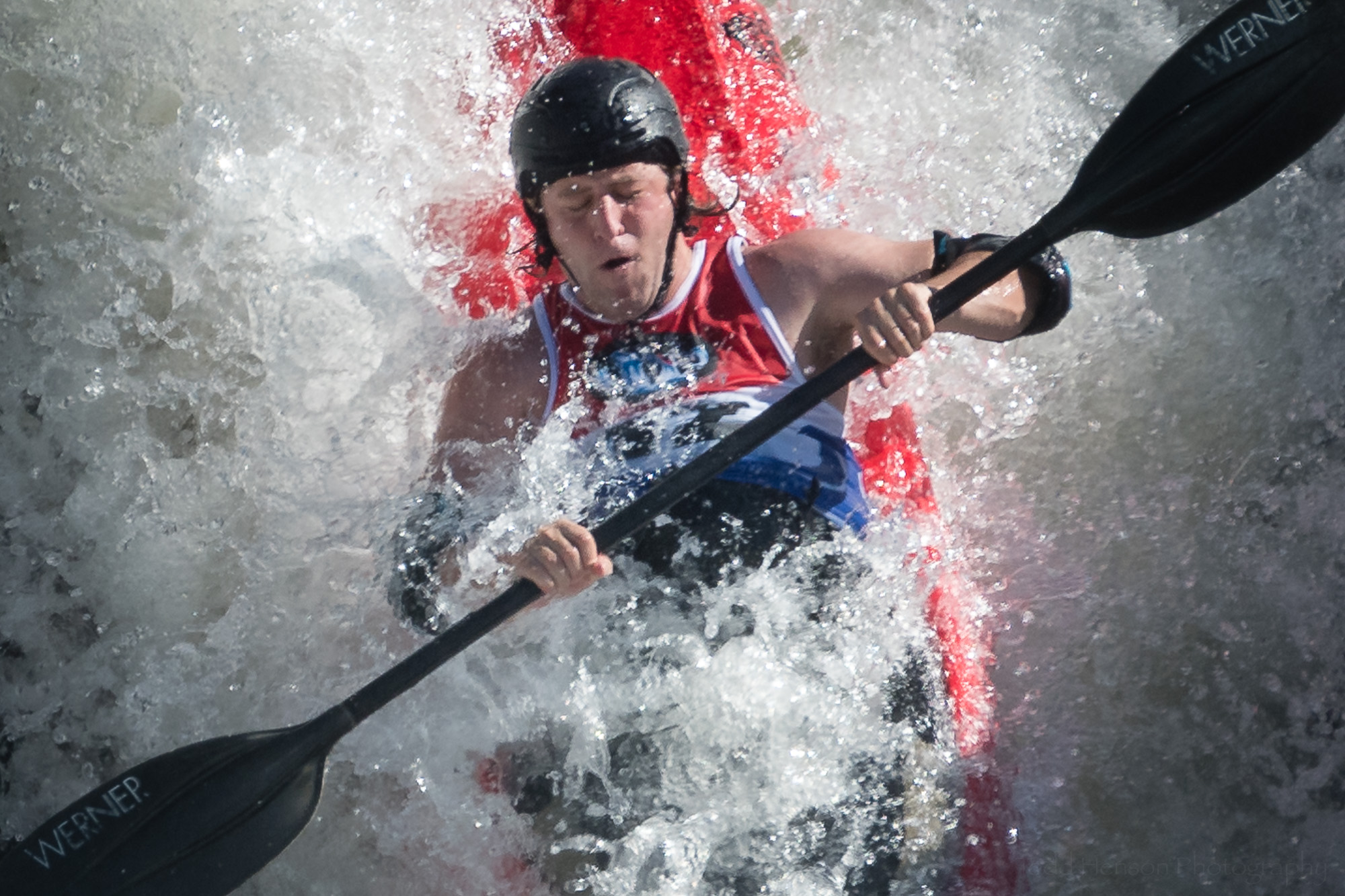 Closeup of Jules Krinsky Kayaking The Fingers at Great Falls