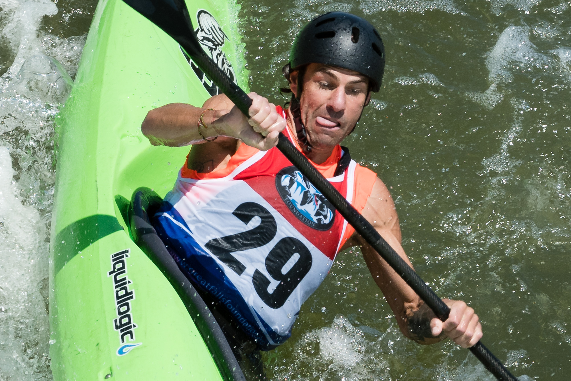 Closeup of Scott Parsons Kayaking The Spout at Great Falls