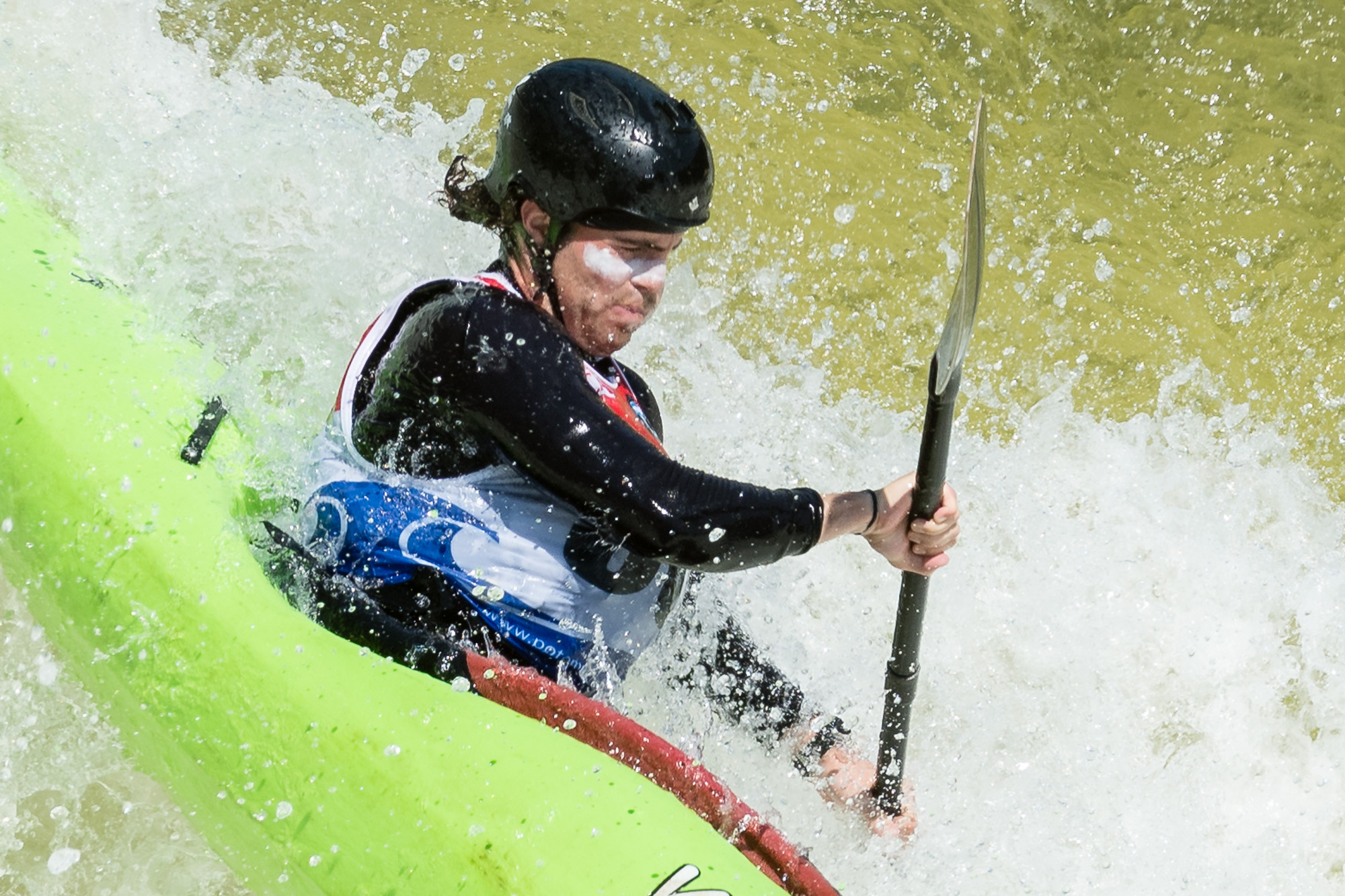Closeup of Rhys Jensen-Jones Kayaking The Spout at Great Falls