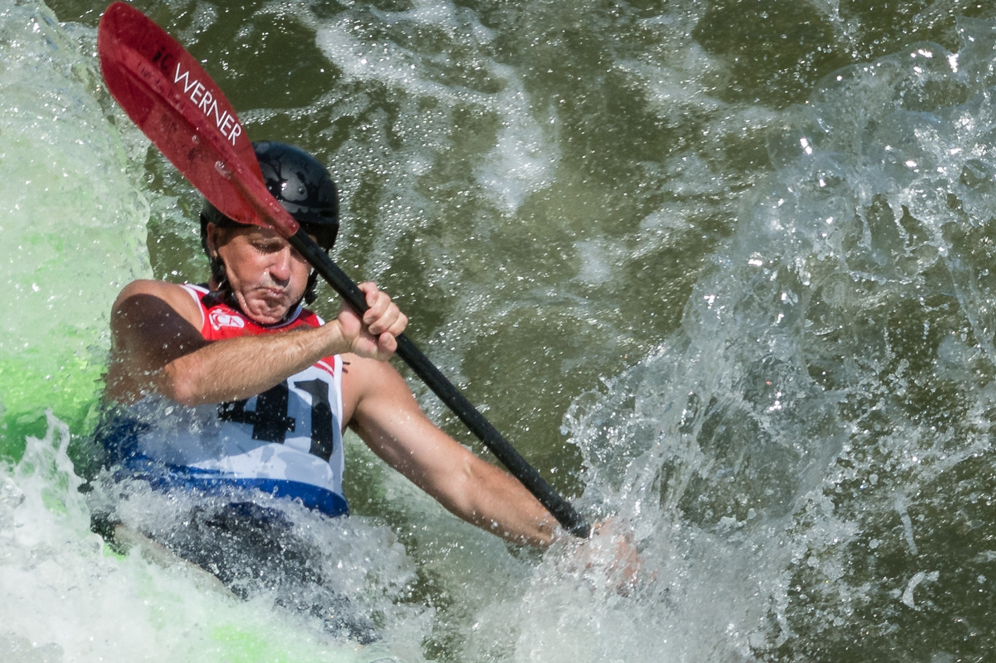 Closeup of Alex Markoff Kayaking The Spout at Great Falls