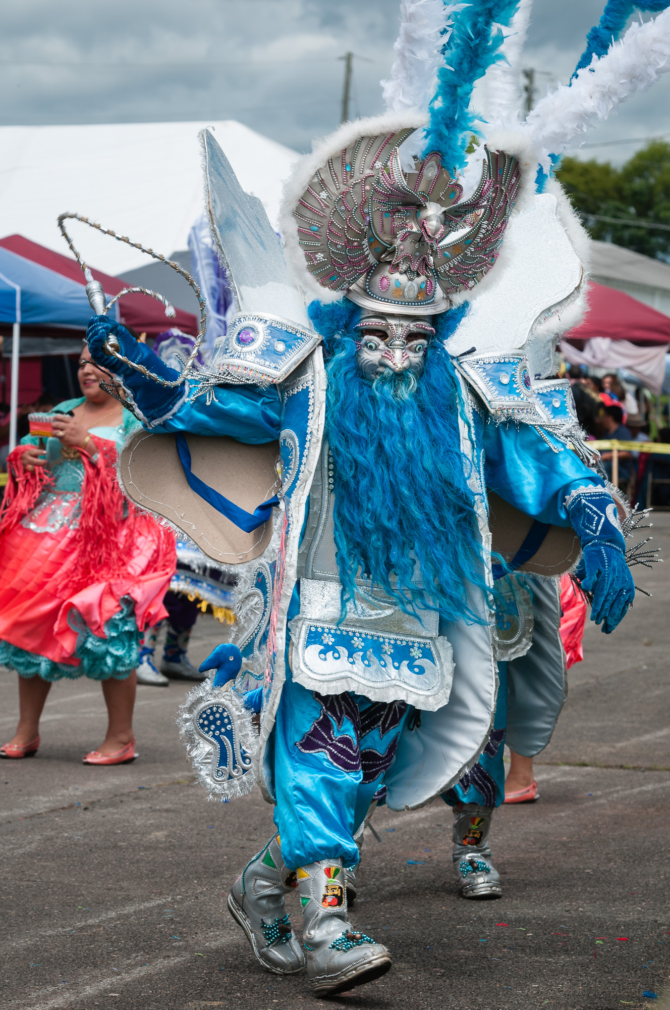 Some performers had full costumes, from head to toe, such as this member of Morenada Transpeco USA performing a Morenada dance.