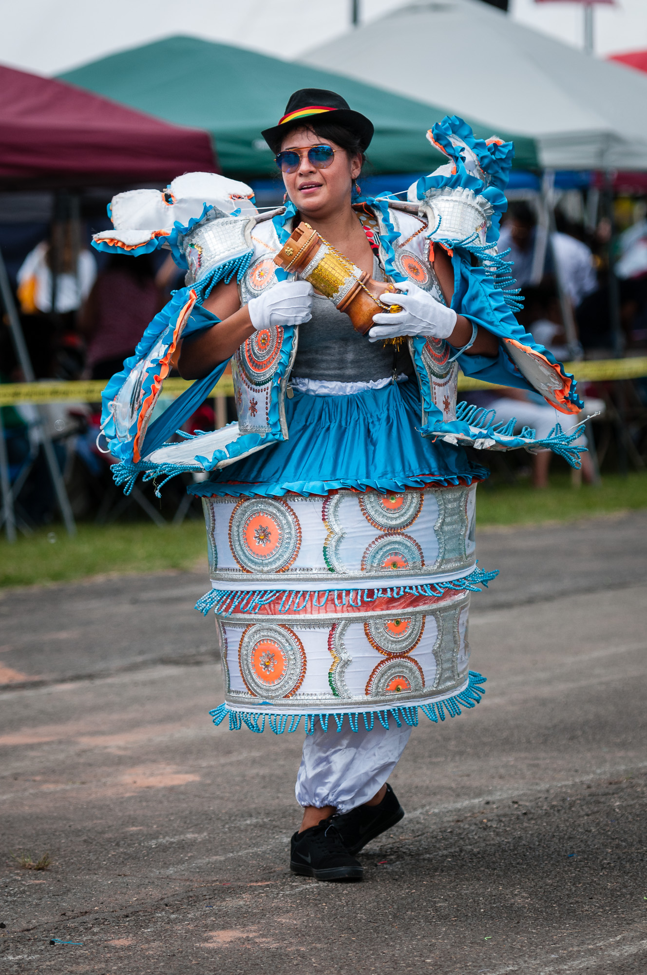 A member of Embajadores del Folklore performing a Morenada dance.