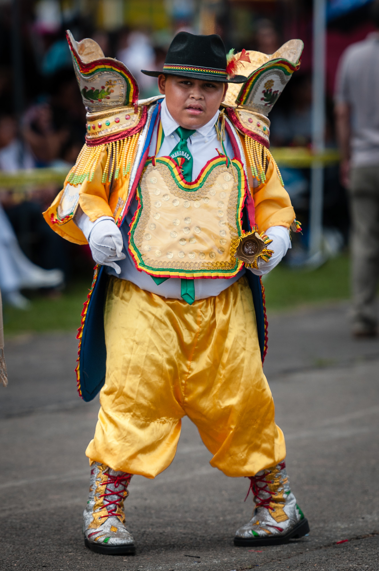A young member of Morenada Bolivia USA performs his moves during a Morenada dance.