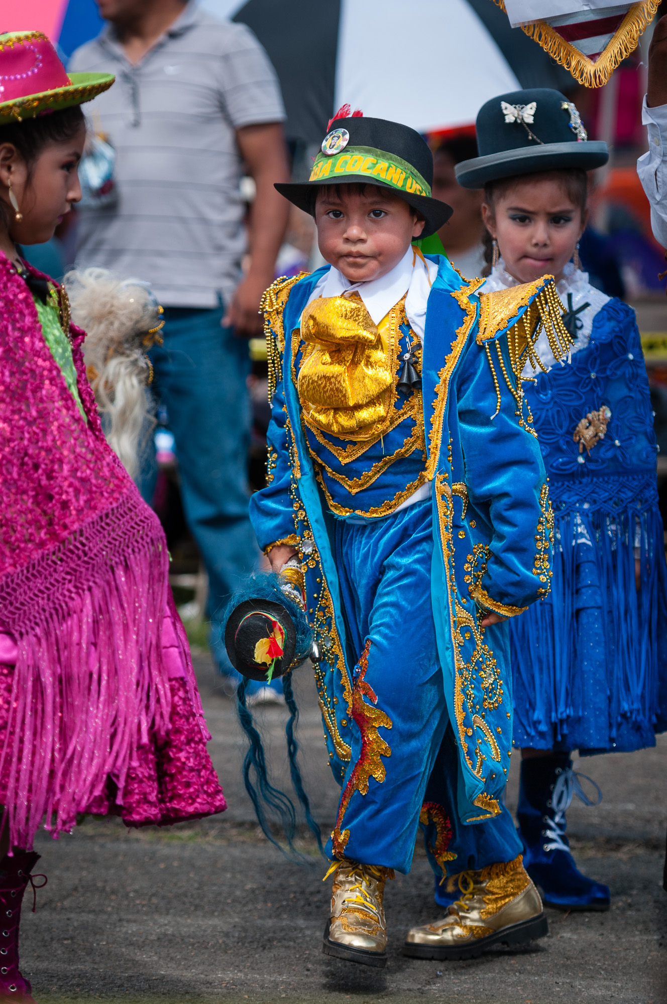 Here is a small group of performers from Morenada Revelacion Cocanis VA USA just after performing a Morenada dance.