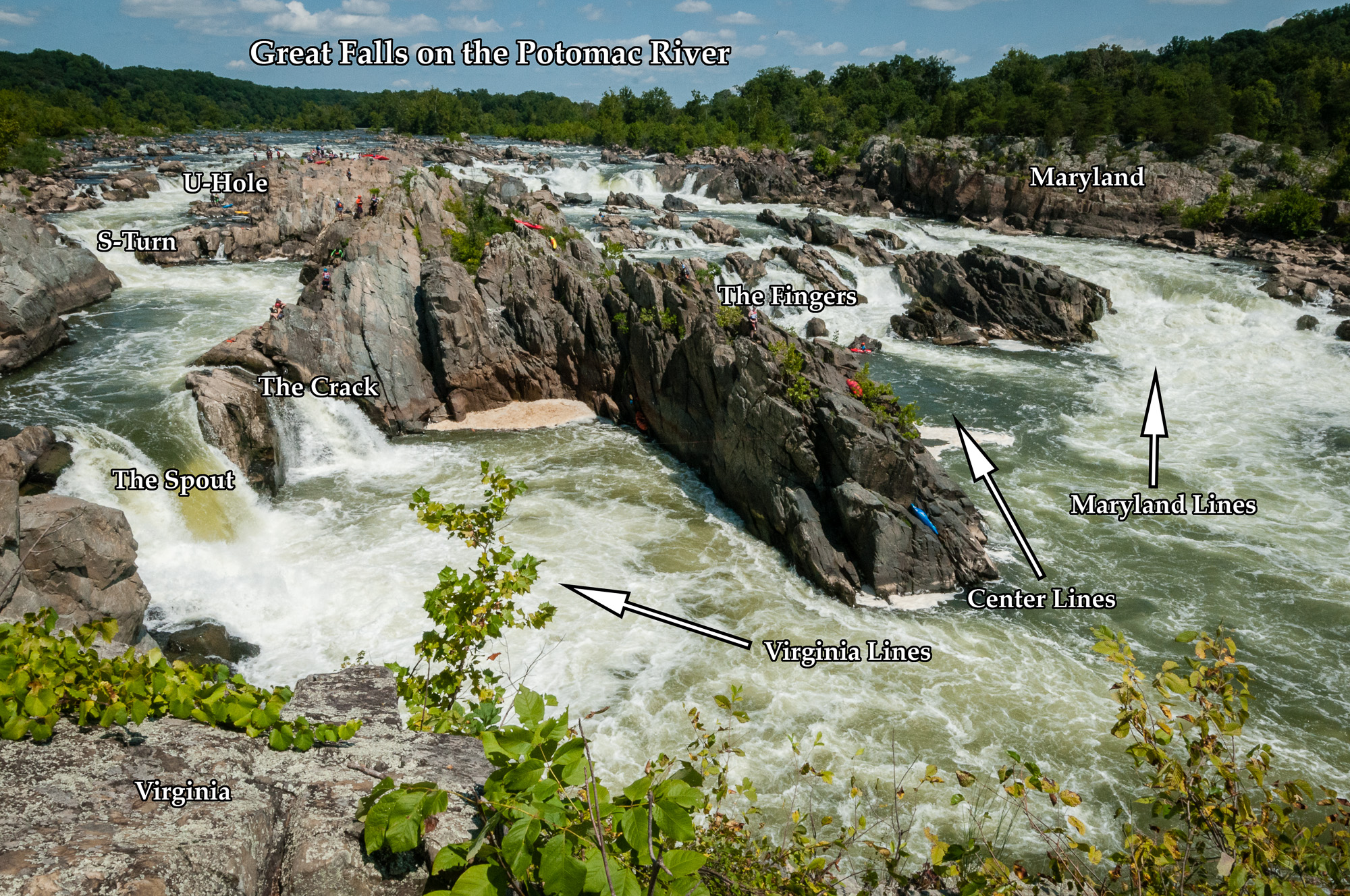 Great Falls on the Potomac River showing major features. The 2017 race ran the Virginia lines.