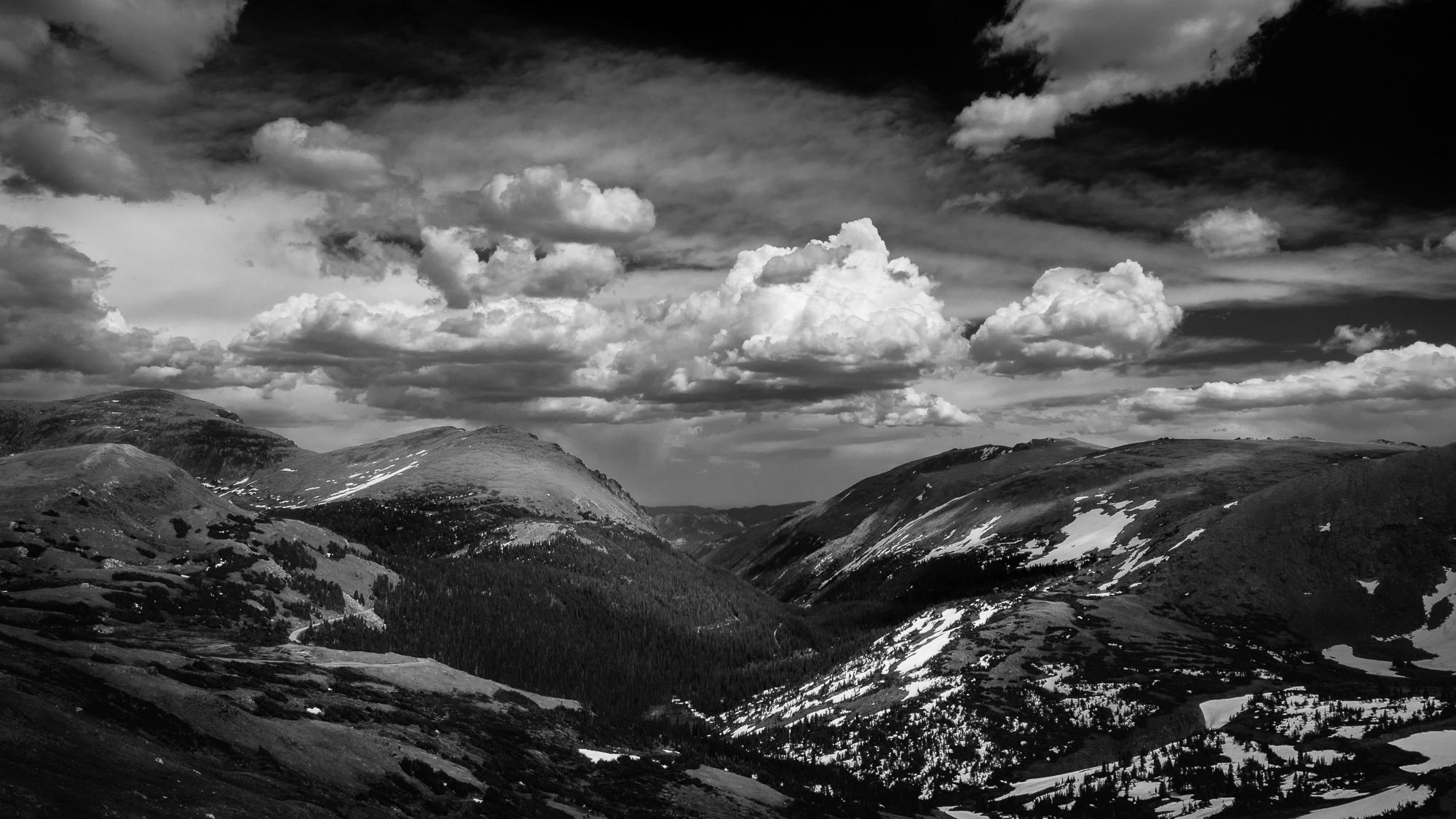 A view from the road while driving through Rocky Mountain National Park