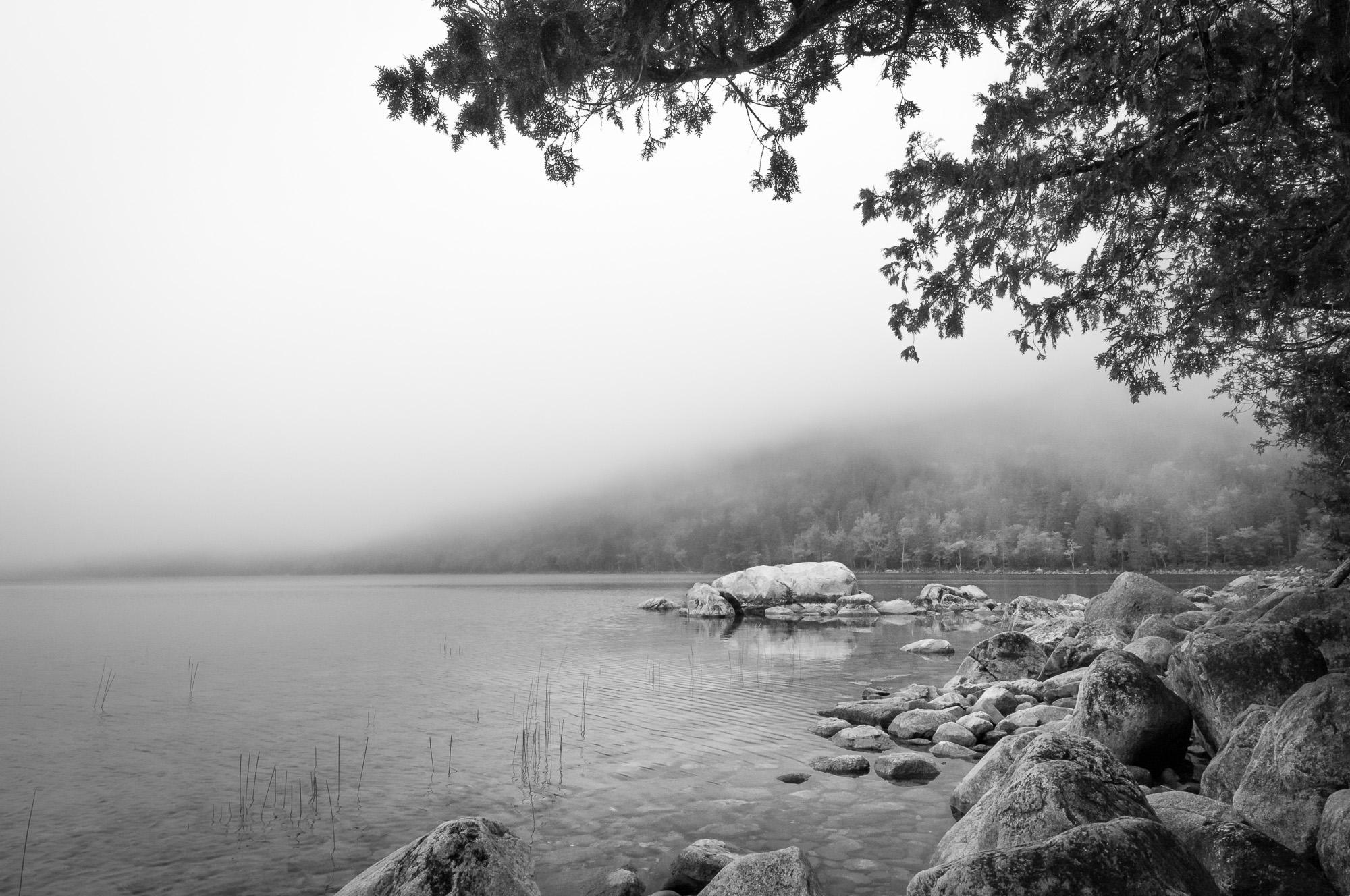 Noontime Fog over Jordan Pond, Acadia National Park, Maine