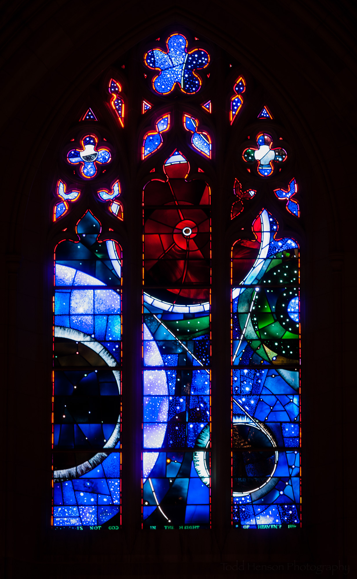 Space Window. Stained glass window at Washington National Cathedral.