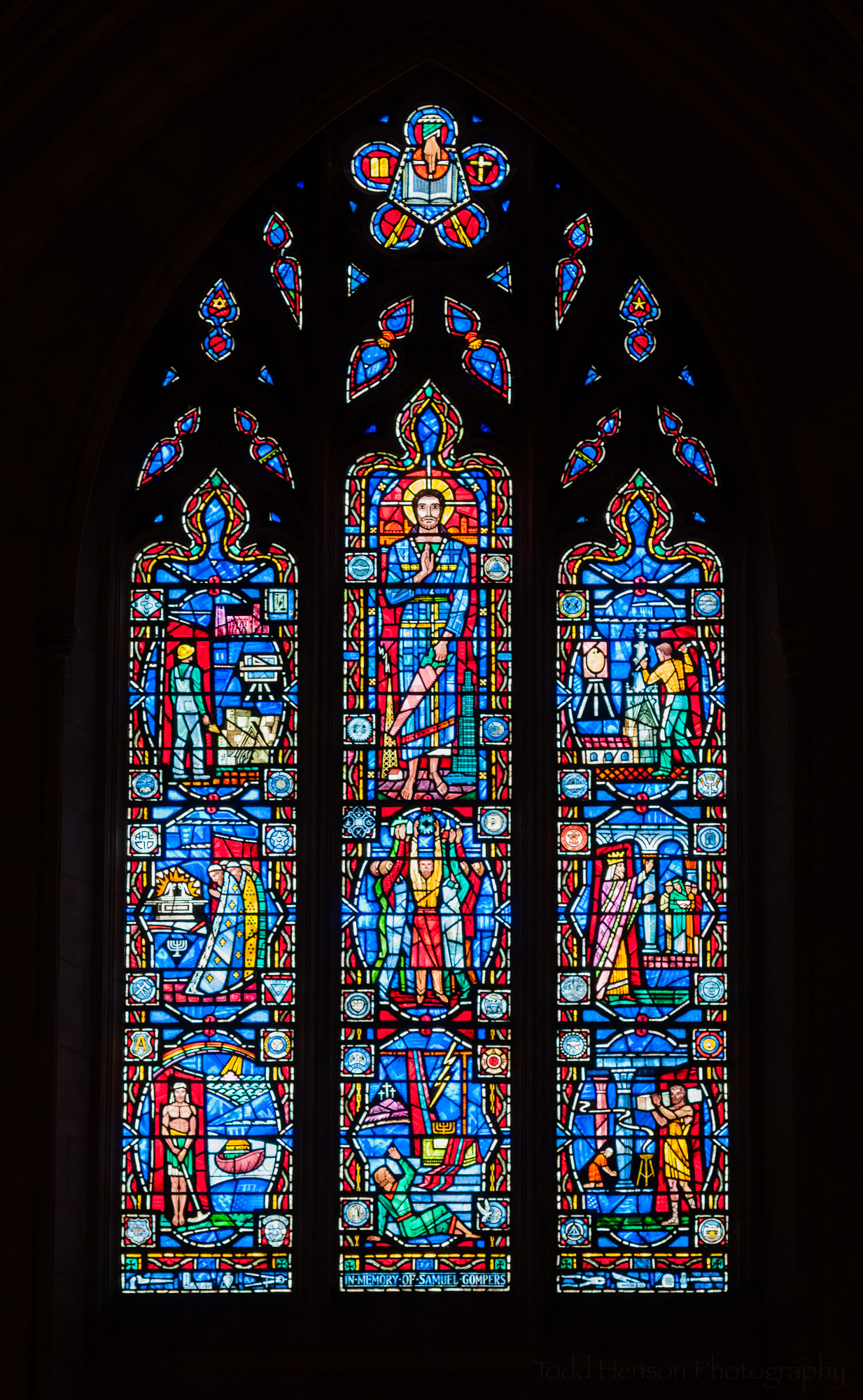 Labor Window. Stained glass window at Washington National Cathedral.