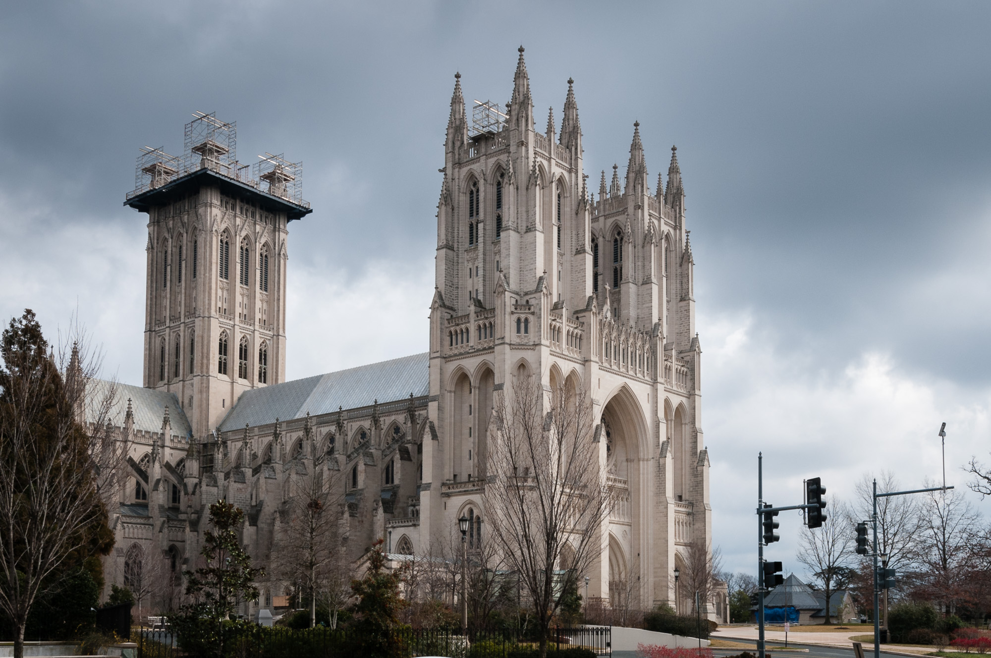 Washington National Cathedral viewed from across the street.