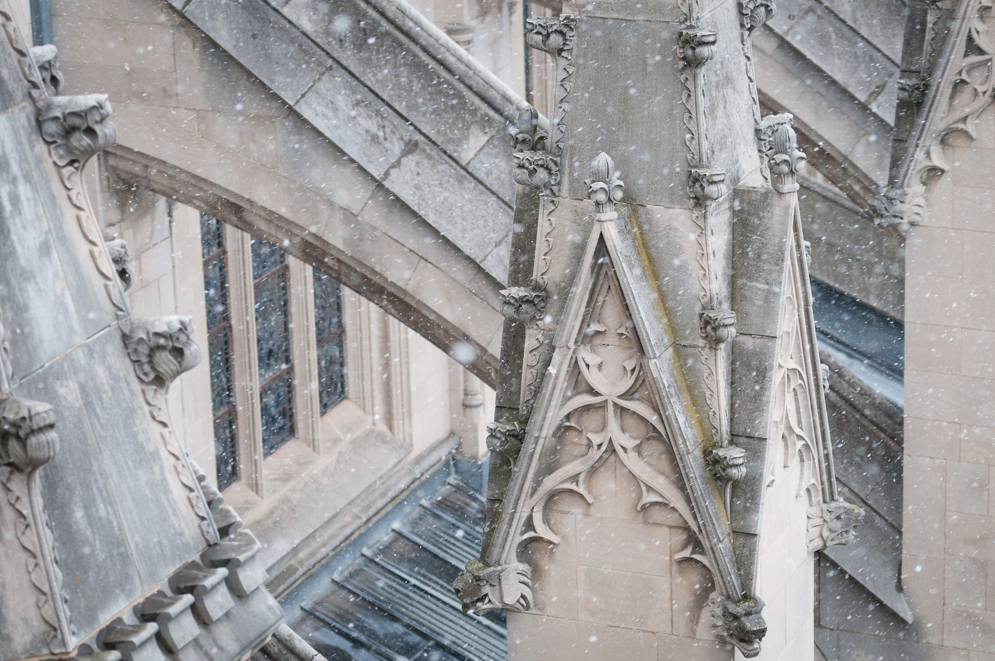 Details outside Washington National Cathedral, photographed from walkway.