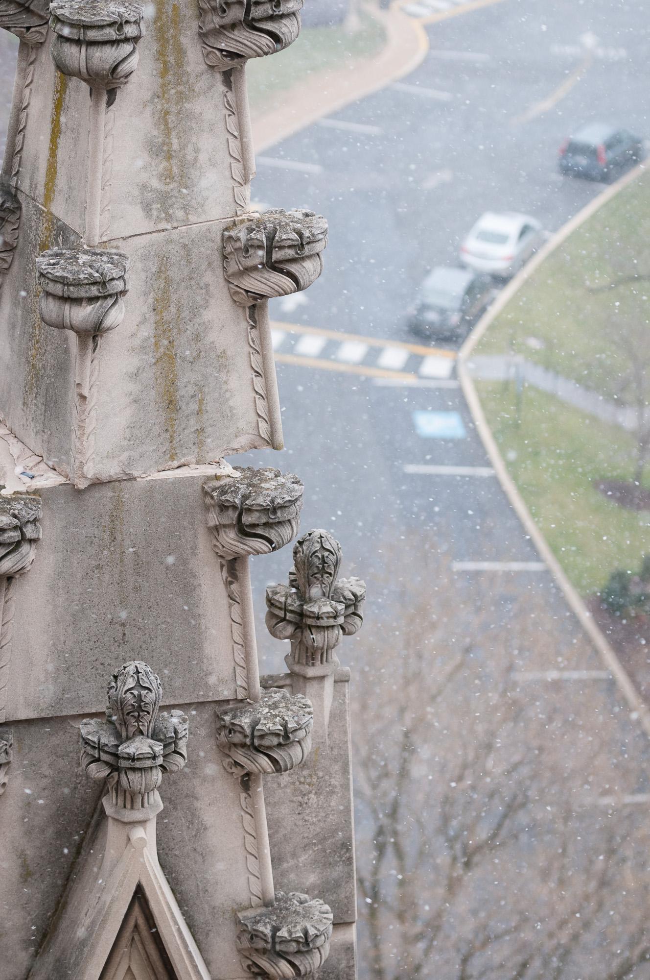Pinnacle atop Washington National Cathedral damaged by 2011 earthquake.