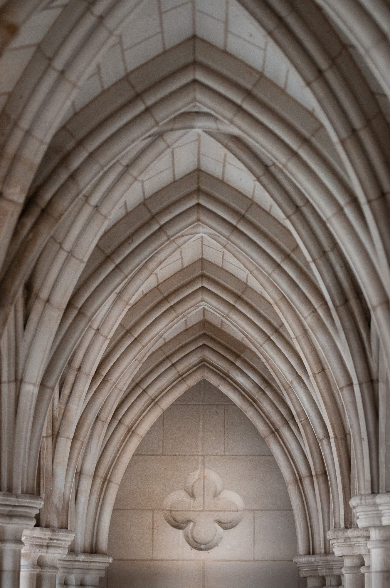 Beautiful archways upstairs in Washington National Cathedral.