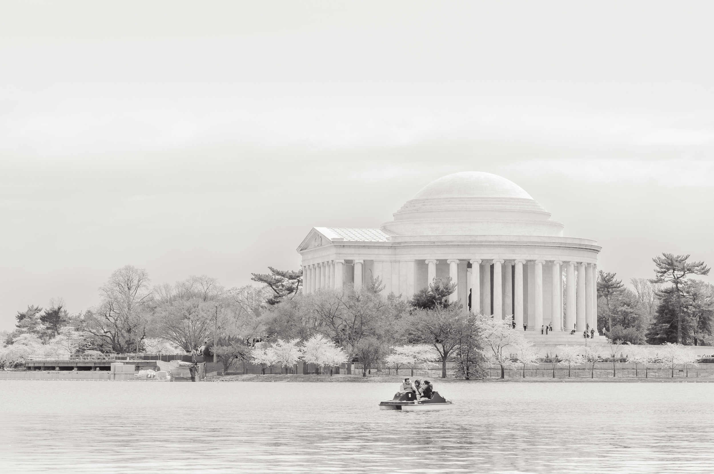 Pedal boating in the Tidal Basin in front of the Thomas Jefferson Memorial, Washington, D.C.