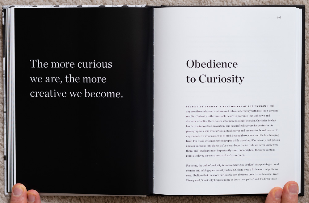 Pages 106 - 107 of  The Soul of the Camera . The chapter on  Obedience to Curiosity .