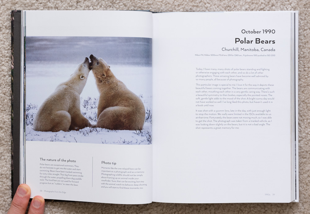 Photographs from the Edge  by Art Wolfe, pages 38-39, October 1990, Polar Bears, Churchill, Manitoba, Canada.