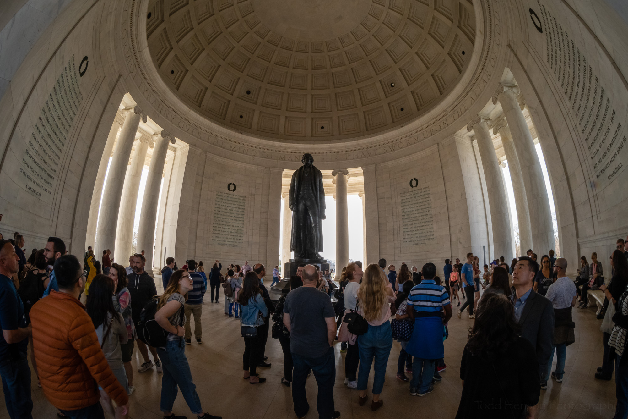Cherry Blossom Crowds inside the Jefferson Memorial