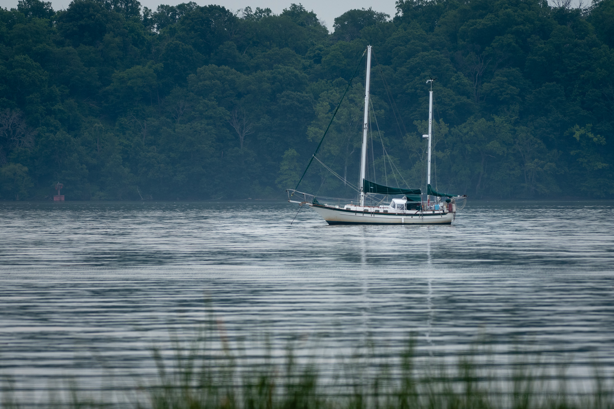 A moored sailboat on the Potomac River