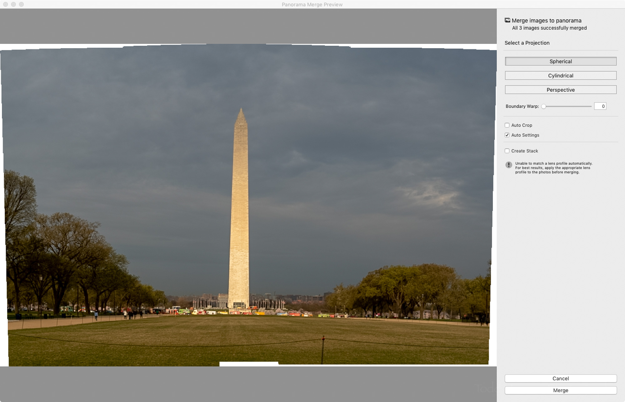 Panorama Merge Preview window in Adobe Lightroom.