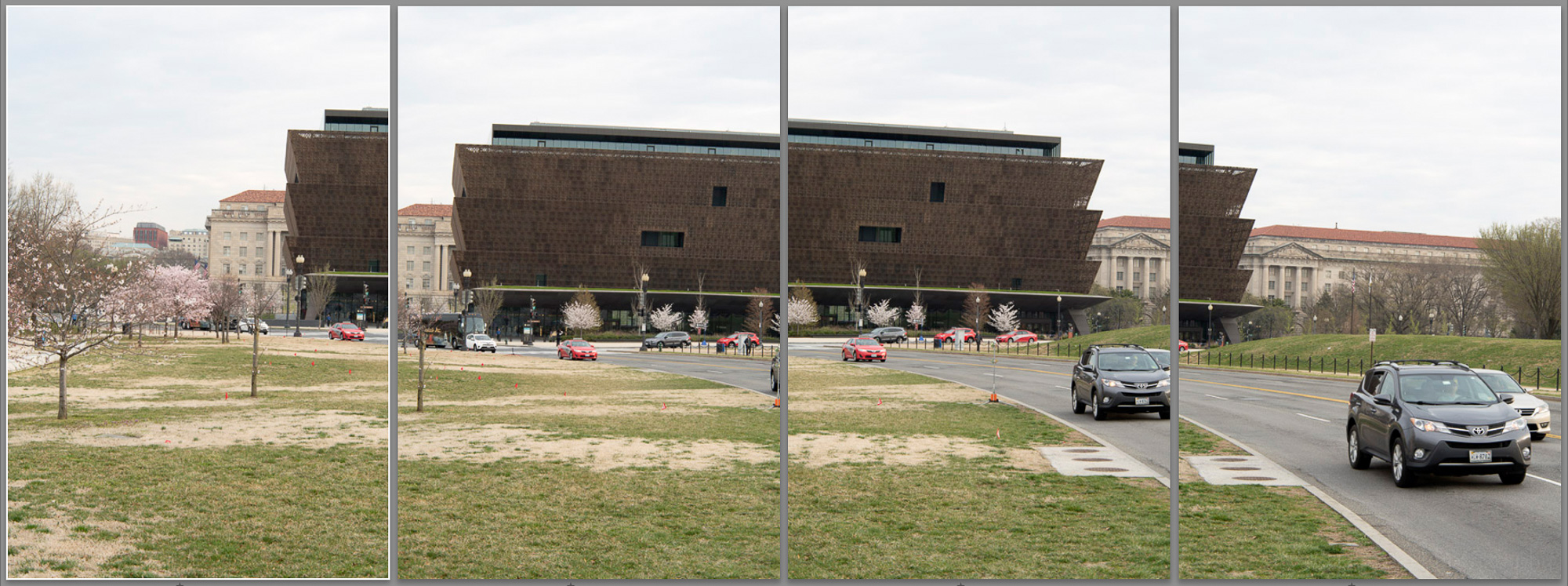 The 4 photos that were combined into the final stitched panorama. Notice the locations of the cars, some of which move from frame to frame.