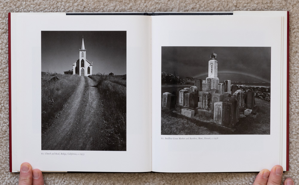 Ansel Adams: Classic Images , plates 60-61: Church and Road, Bodega, California, 1953 & Buddhist Grave Markers and Rainbow, Maui, Hawaii, 1956