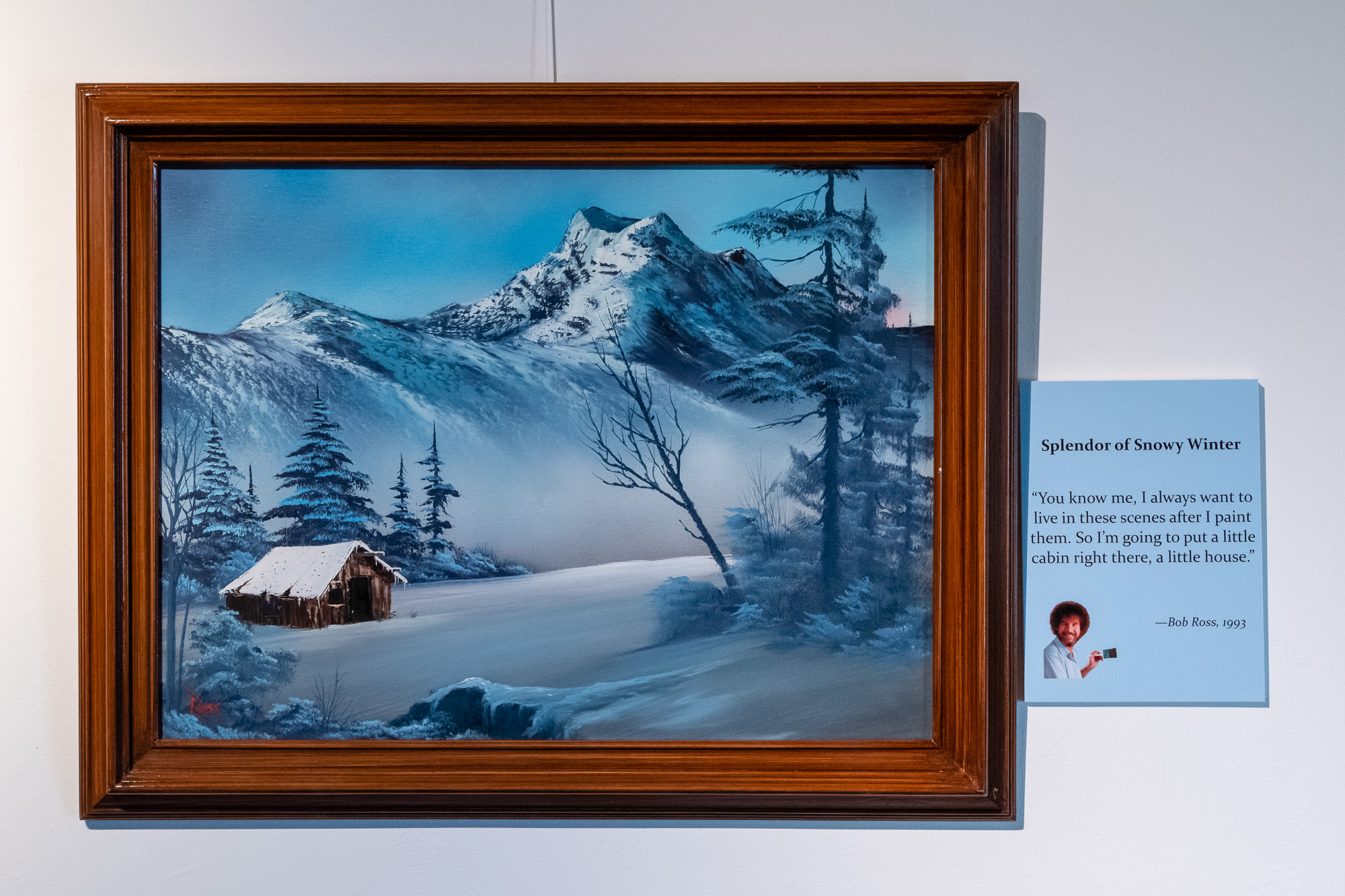 Splendor of Snowy Winter , an original oil painting by Bob Ross, exhibited at Franklin Park Arts Center