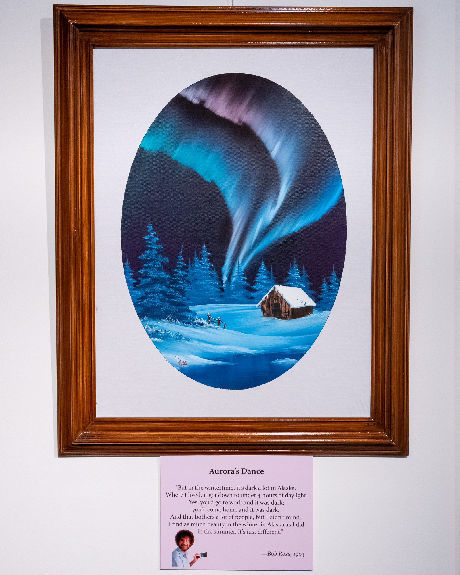 Aurora's Dance , an original oil painting by Bob Ross, exhibited at Franklin Park Arts Center