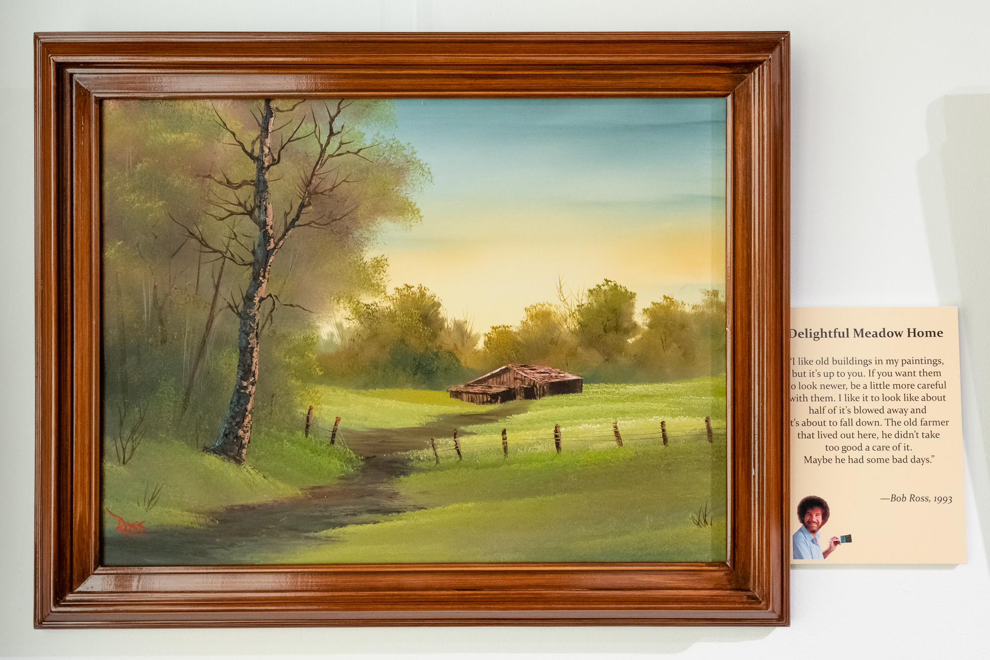 Delightful Meadow Home , an original oil painting by Bob Ross, exhibited at Franklin Park Arts Center