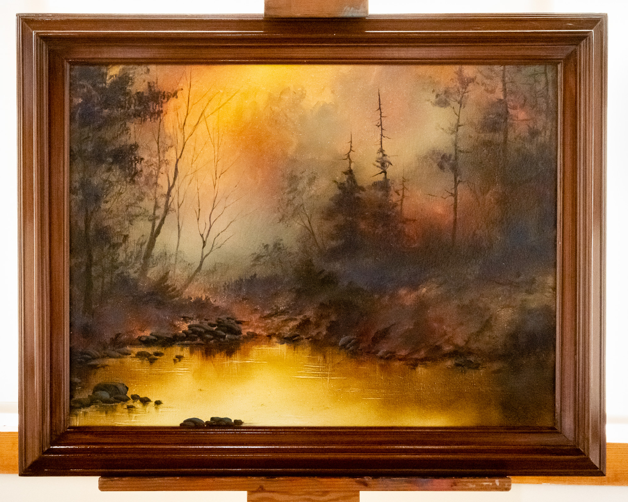 Golden Glow of Morning , an original oil painting by Bob Ross, exhibited at Franklin Park Arts Center