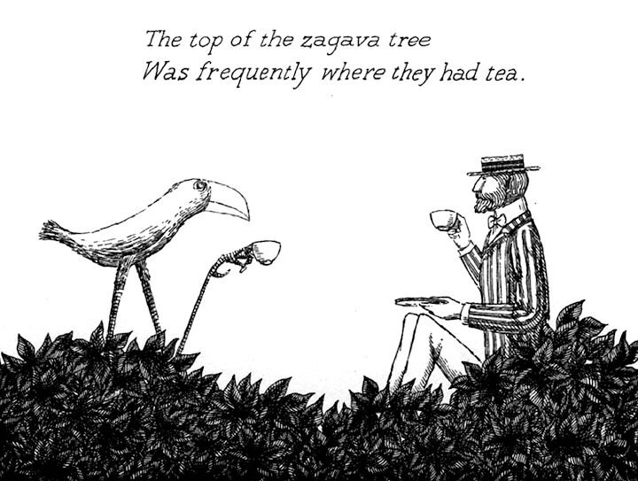 Illustration by Edward Gorey. What do you think they're REALLY drinking?