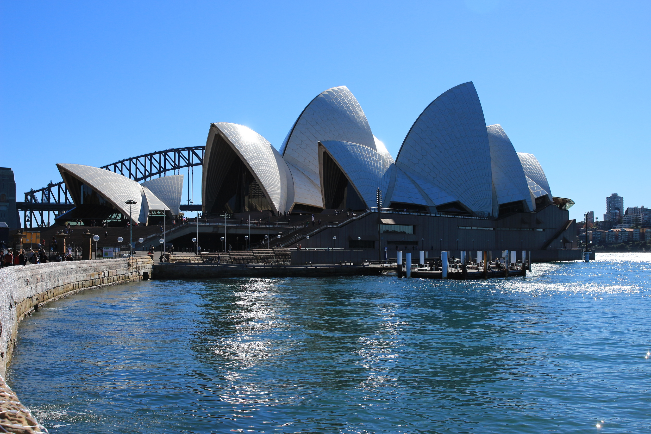 The walkway all along Sydney Harbor provided stunning views of the opera house. Even though it was winter in the Southern Hemisphere, the weather held up enough that day for a nice stroll through the park areas.  The next day however it was very cold and very windy.