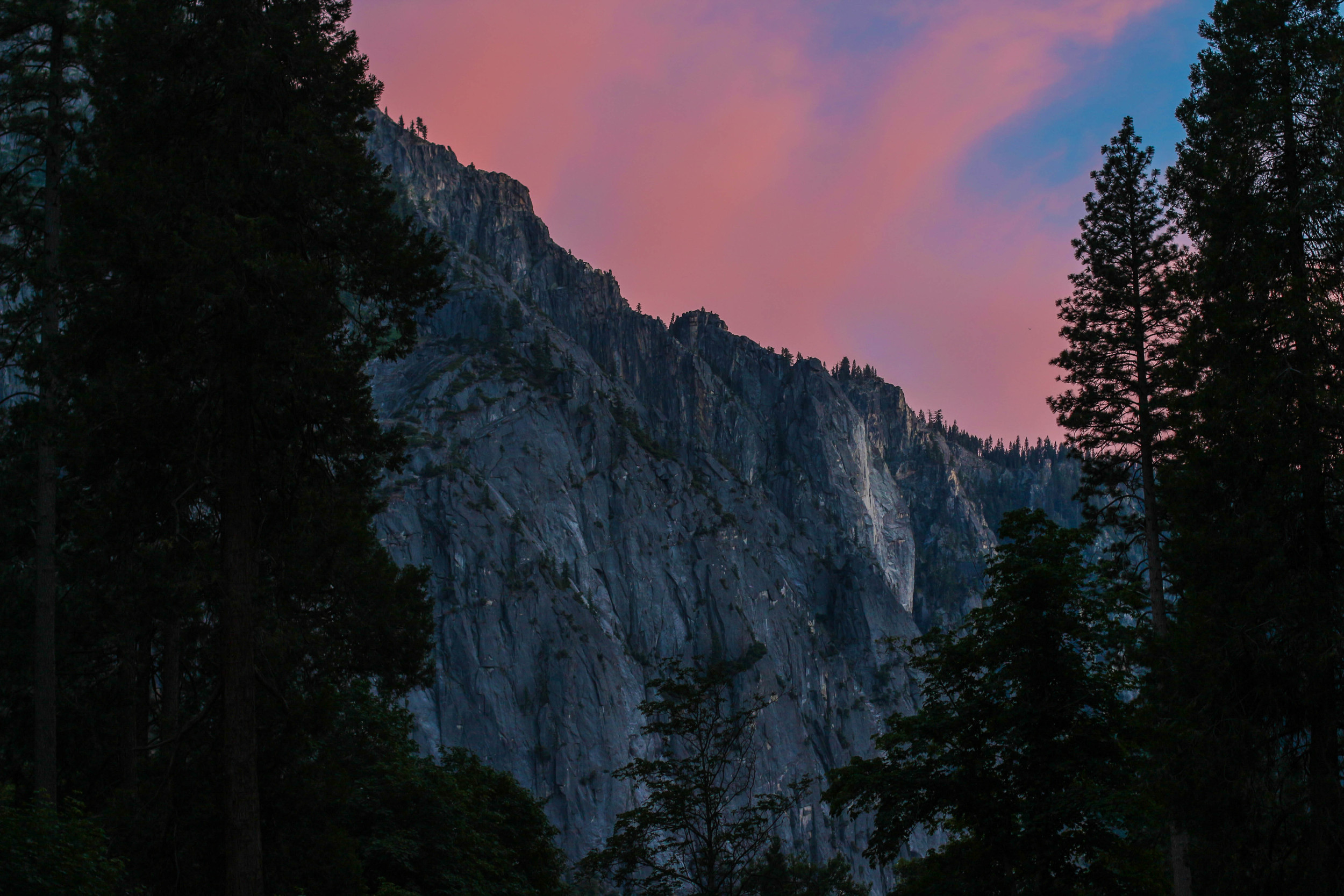 The sunset view from the bottom of the Hetch Hetchy valley camp site.