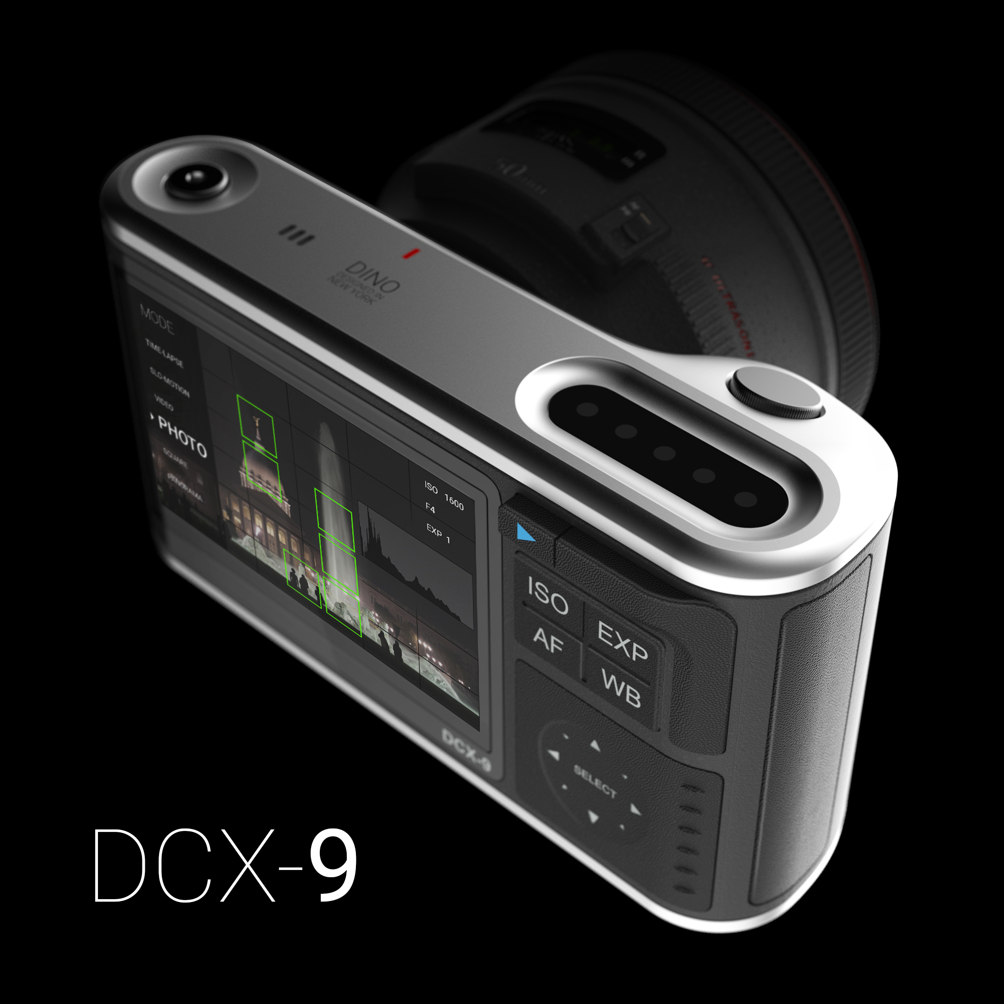 This is the DCX-9 camera concept. It's a side project to experiment with designing a different camera experience by way of removing knobs and opting for touch based input.