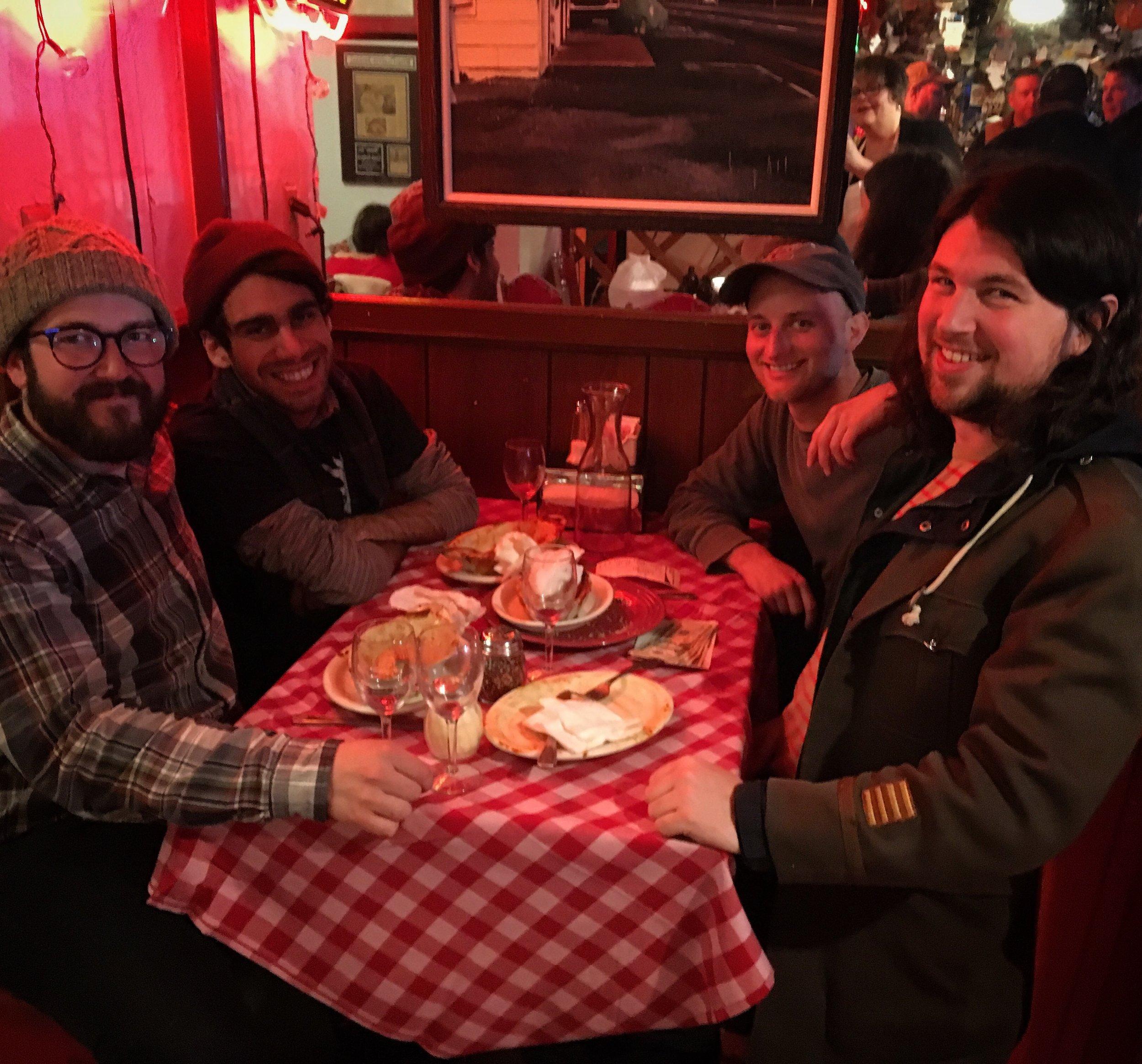 Enjoying a lasagna at the Halfway Club