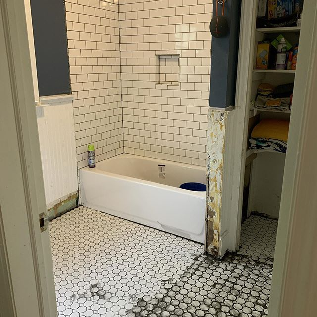 Bathroom remodel week 4. The might be an end to this madness soon.