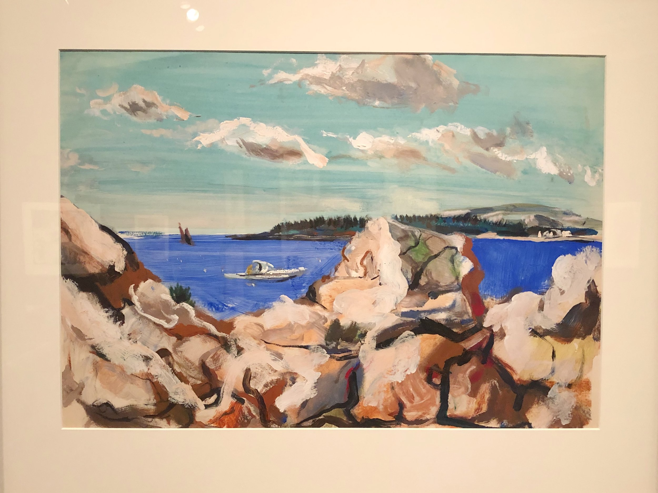 "Paul Chidlaw: ""Rocks and Harbor with Boat"" (please click on all images)"