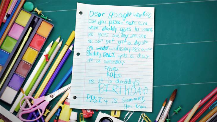 In a letter written in crayon, a young girl named Katie asked Google to give her dad some time off.