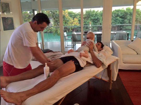 U.S. Open champion Novak Djokovic with his son, Stefan, in April. (Image: Twitter/ Novak Djokovic )